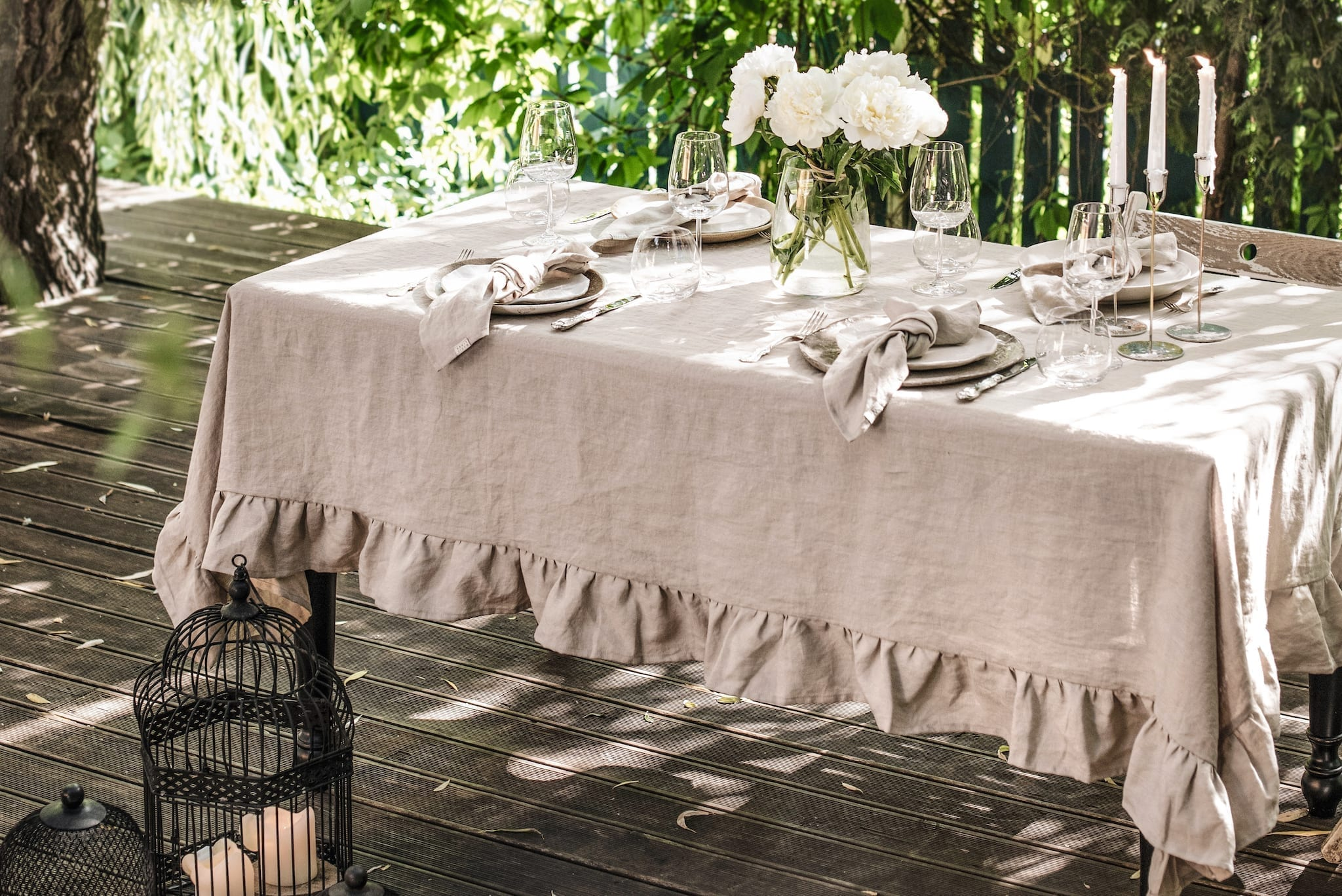 Natural Linen Tablecloth and Napkins