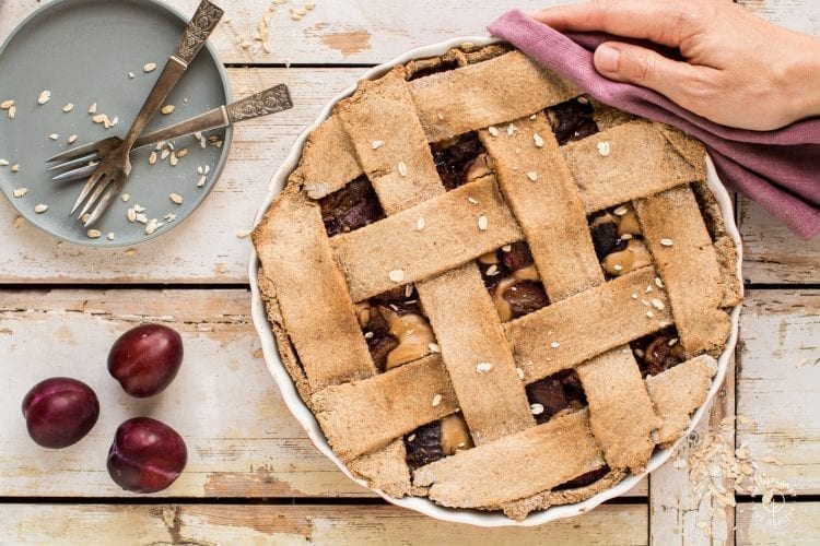 This gluten-free vegan plum pie will fill your kitchen with heavenly flavours.