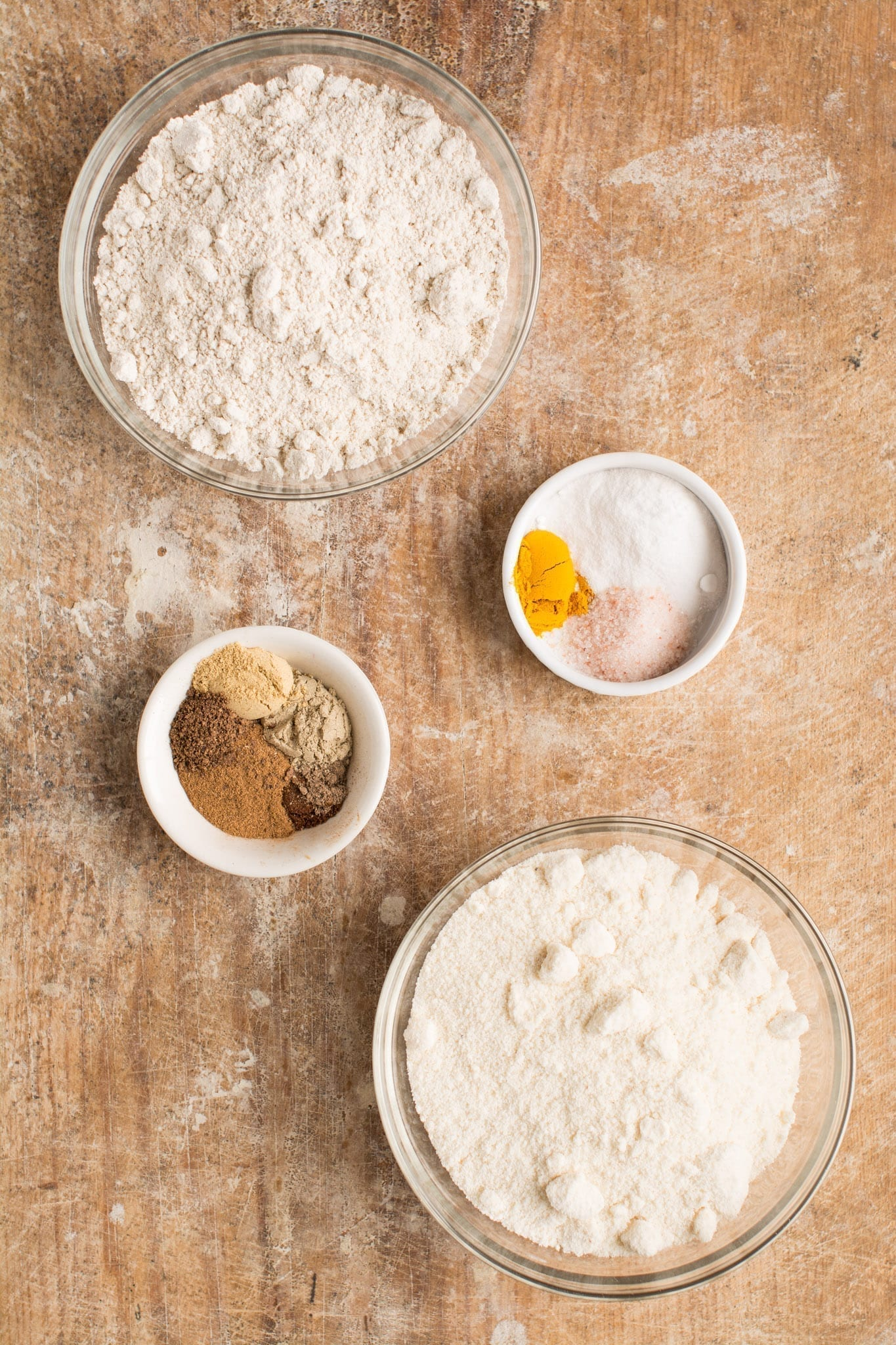 Dry ingredients of gluten free pumpkin bread