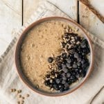 This vegan lentil oatmeal is a perfect low glycemic breakfast porridge recipe that will keep your blood sugar stable.