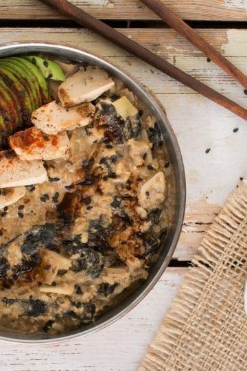 Try this vegan version of Japanese breakfast rice porridge with some healthy tweaks. It's like eating sushi for breakfast, but in the form of comforting porridge bowl.