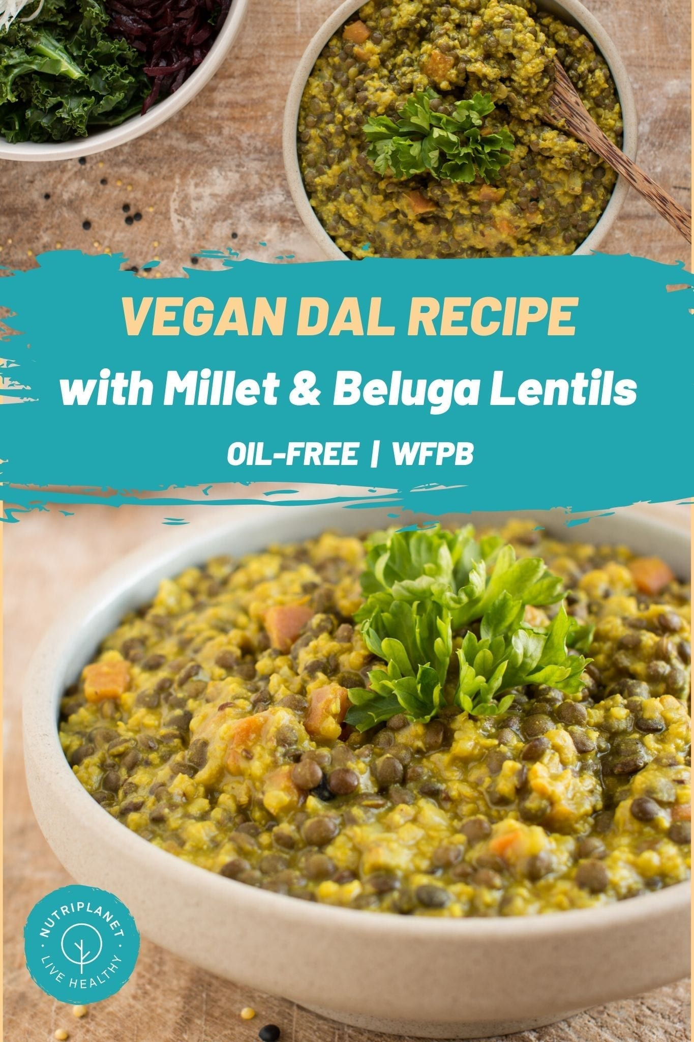Easy and delicious oil-free vegan dal recipe with millet and black lentils.