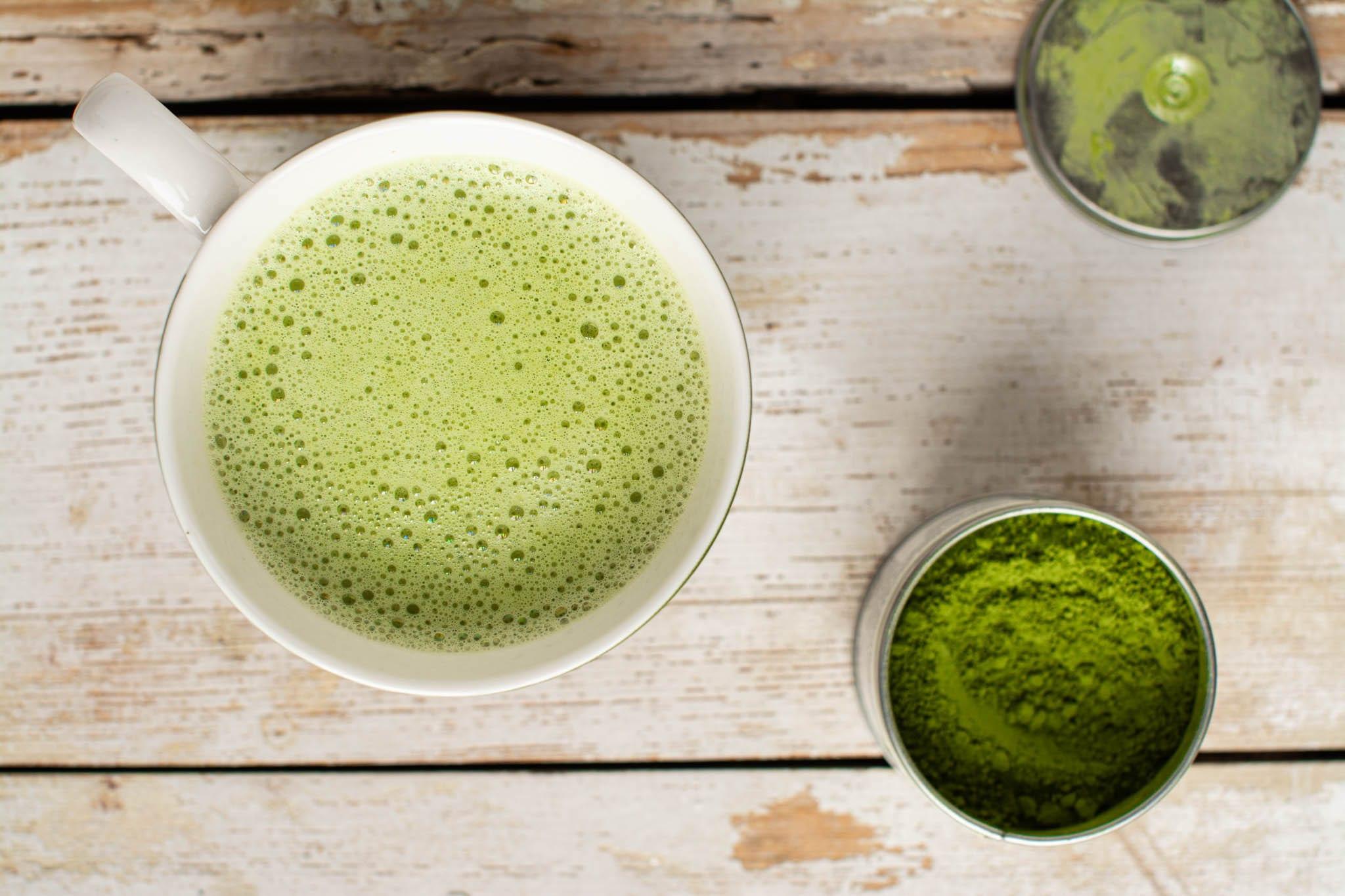 Matcha green tea latte with oat milk